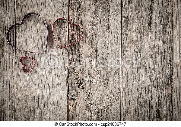 Valentines Day Hearts On Rustic Wooden Background