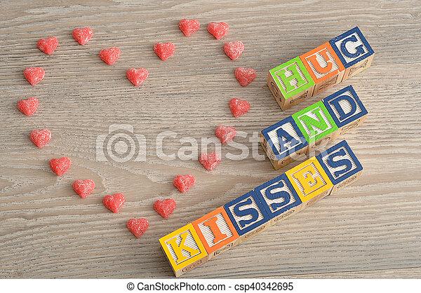 Hugs /& Kisses valentines blocks