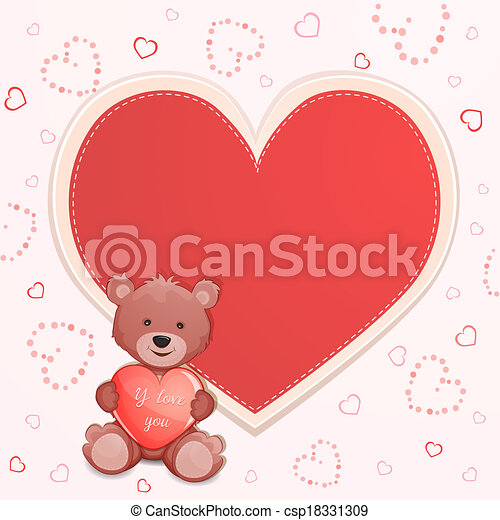Valentine S Day Illustration With Cute Teddy Bear