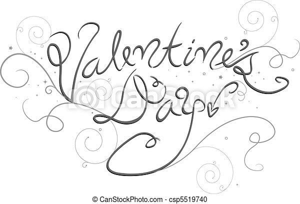 valentines day lettering. fancy lettering of the words stock, Ideas