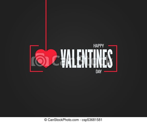 Valentines Day Logo On Black Background 10 Eps