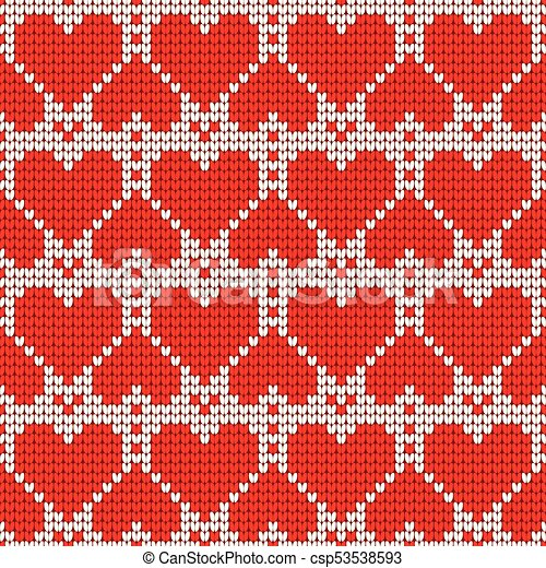 Valentines Day Love Heart Knitted Seamless Pattern Textures In Red
