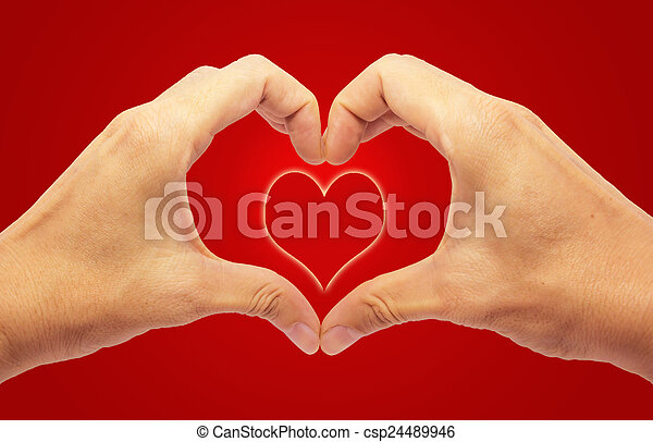 Valentines Day - Making Heart with 2 Hands on Red Background - csp24489946