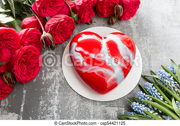 Valentines Day Or Birthday Greeting Card Cake In The Form Of A Red Heart Roses And Dessert On Stock Photo