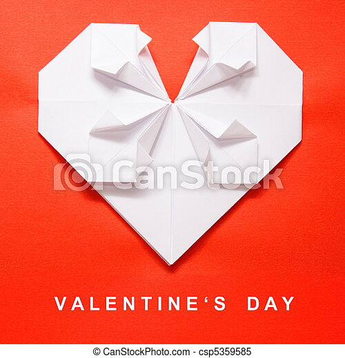 Valentines Day Origami Card Valentines Day White Heart Origami