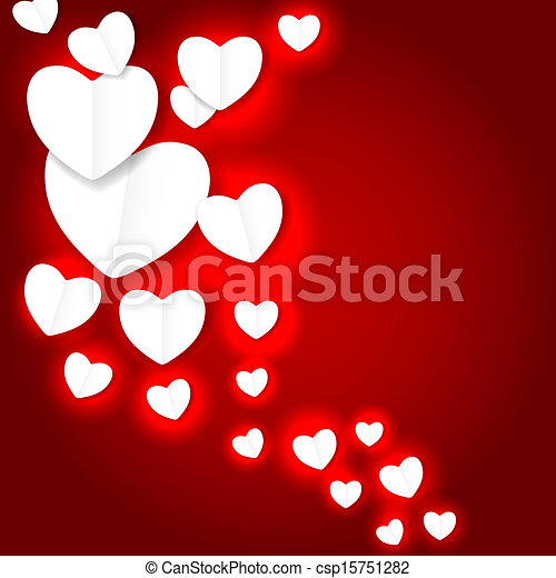 Valentines day paper heart backgroung, vector illustration - csp15751282