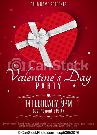 Valentines Day Party Flyer Red Box From The Heart And A White Ribbon With Bow Romantic