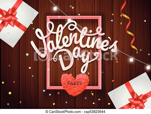 Valentines Day Party Poster Vector Concept Presentation Vector