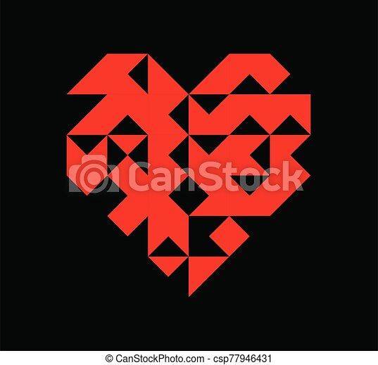 Valentine's day red geometry heart - csp77946431