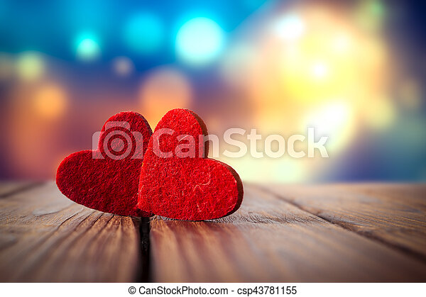 Valentines day red heart on wood background - csp43781155