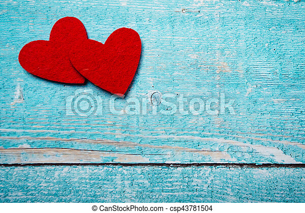 Valentines day red heart on wood background - csp43781504