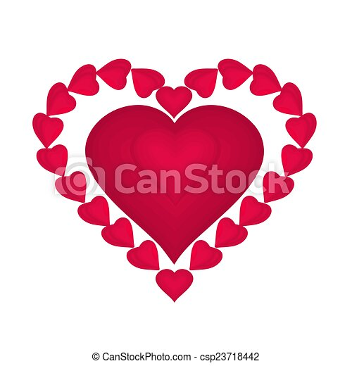 Valentines day red hearts  - csp23718442