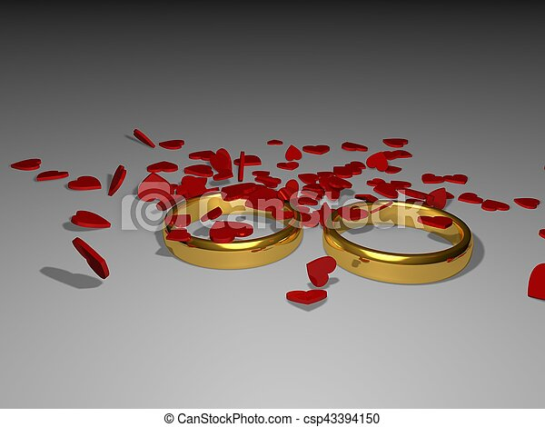 Valentine's Day. Rings and hearts 3d illustration - csp43394150