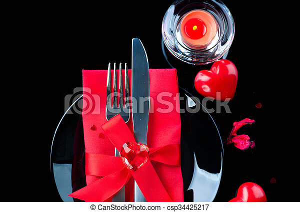 Valentine S Day Romantic Dinner Table Place Setting Over Black