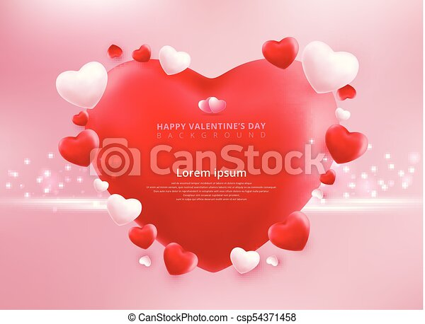 Valentines Day Sale Background With Balloons Heart Pattern Vector Illustration Wallpaper Flyers Invitation Posters Brochure Banners Ad