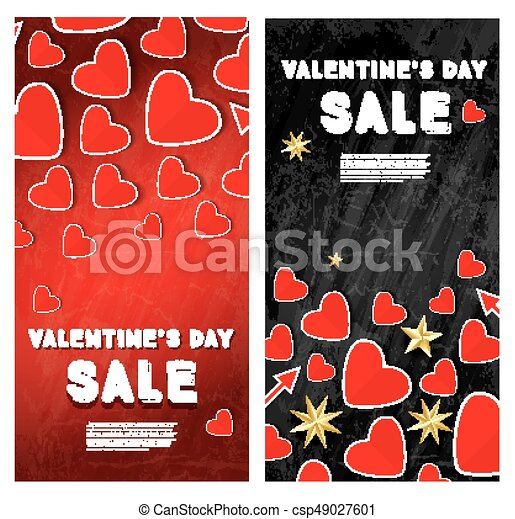 Valentine S Day Sale Banner Set With Hearts Valentine S Day Sale