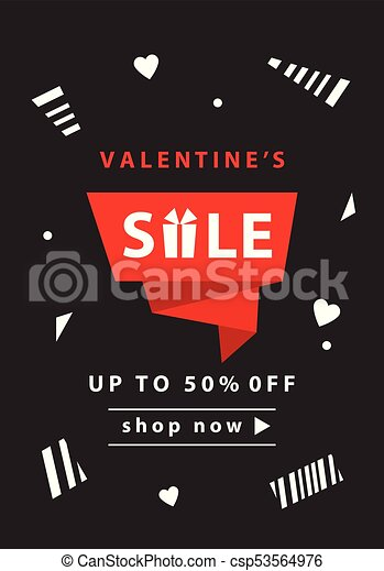 Valentines Day Sale Banner Template Vector Illustration Invitation