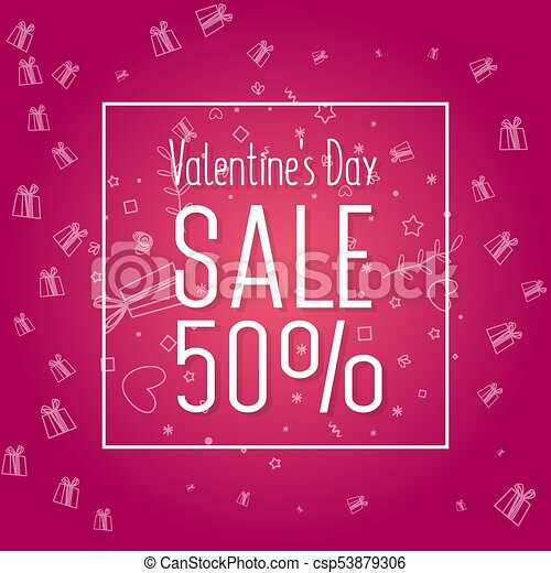Valentine S Day Sale Banner Template Design 50 Percent Discount