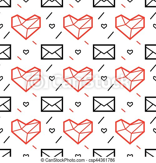 Valentines Day Seamless Pattern With Heart And Letter Geometry