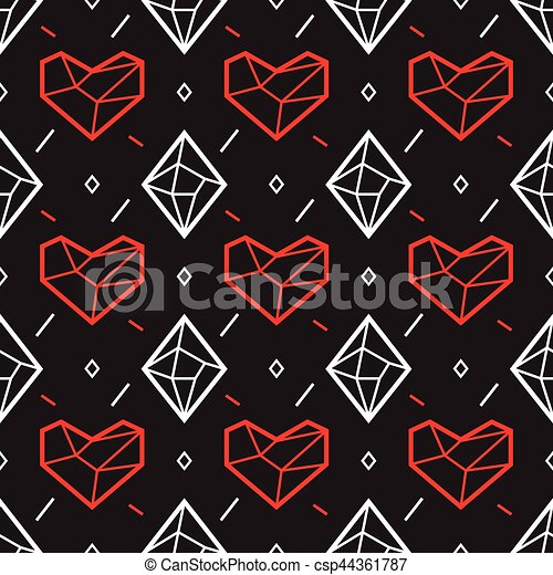 Valentines Day Seamless Pattern With Heart And Diamond Geometry