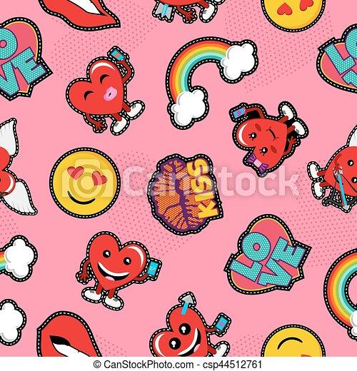 Valentines Day Social Love Emoji Patch Background Valentines Day