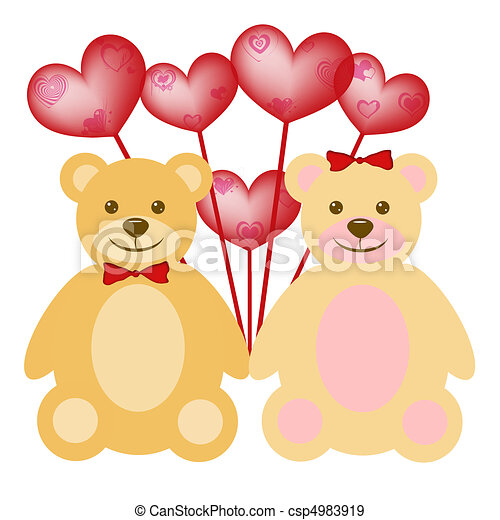 Valentine S Day Teddy Bear Couple With Red Balloons Valentine S Day