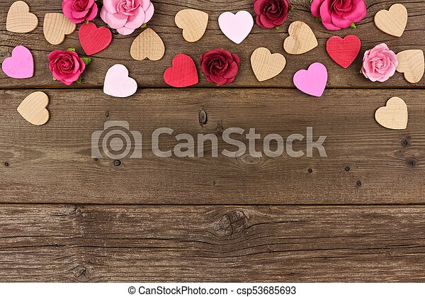 Valentines Day Top Border Of Hearts And Roses Against Rustic Wood