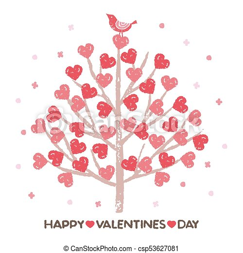 Valentine S Day Tree With Heart Shaped Leaves And A Little Bird