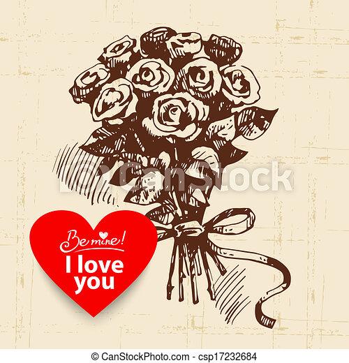 Valentine's Day vintage background. Hand drawn illustration with heart form banner.  Rose bouquet  - csp17232684
