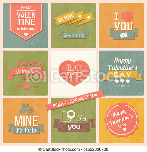 Collection Of ValentineS Day Vintage Labels Typographic  Vectors