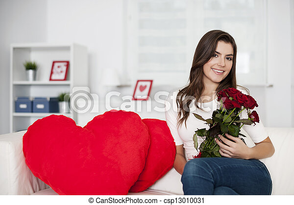 Valentine's day with bouquet of red roses - csp13010031