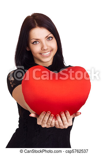 Valentines Day. Woman holding Valentines Day heart sign with copy space  - csp5762537