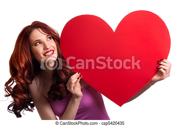 Valentines Day. Woman holding Valentines Day heart sign with copy space - csp5420435