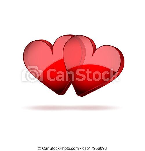 valentines, due, fondo, cuori, giorno, felice - csp17956098