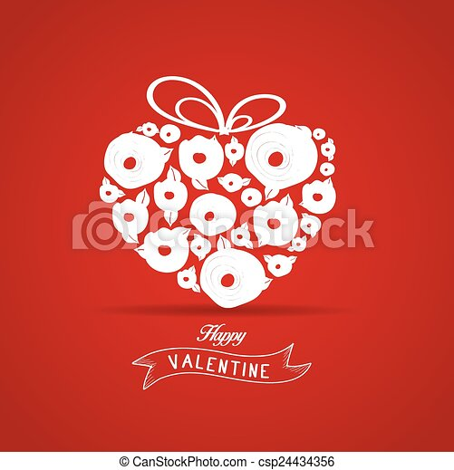 valentines gift heart flower rose - csp24434356