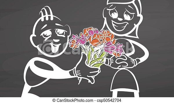 Valentines gift. Stickman on chalkboard. - csp50542704