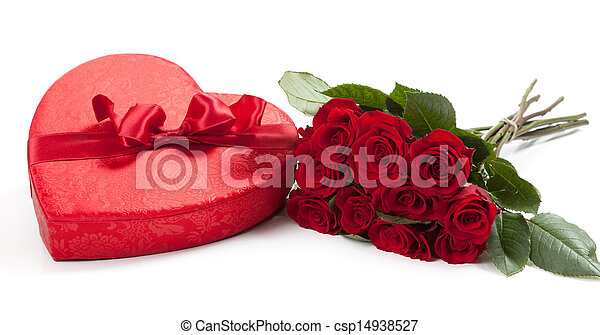 Valentine's gifts including a bouquet of roses and candy heart - csp14938527