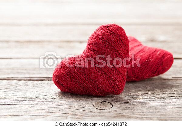 valentines, grüßen karte, herzen, tag, rotes  - csp54241372