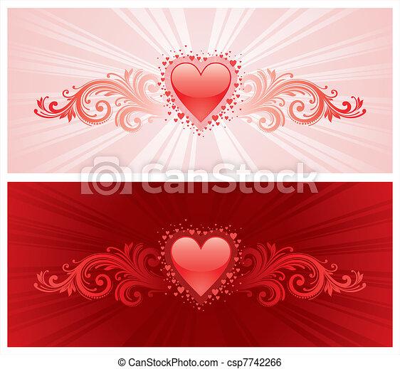 Valentines heart & ornamental decor - vector illustration - csp7742266