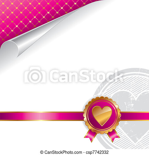 Valentines luxury vector design with golden seal heart - csp7742332