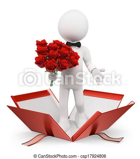 valentines., ramo, personas., rosas, blanco, hombre, 3d - csp17924806