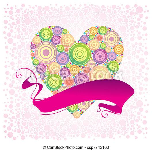 Valentines & ribbon, vector illustration - csp7742163