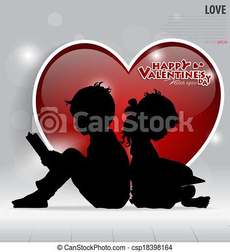 Tarjeta de San Valentín. Ilustración de vectores. - csp18398164