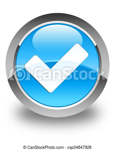 Validate icon glossy cyan blue round button - csp34847928