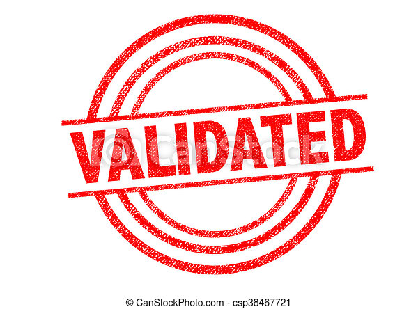 Validated Rubber Stamp Over A White Background