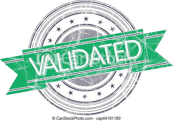 Validated Stamp Grunge Rubber On White