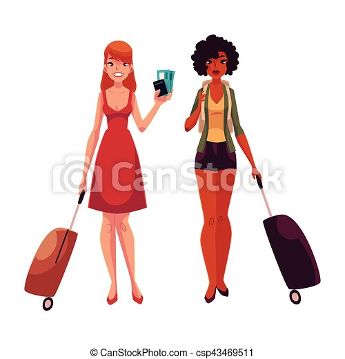 889f0c1f24e05d Valigie, due, insieme, ragazze, nero, viaggiante, caucasico ...
