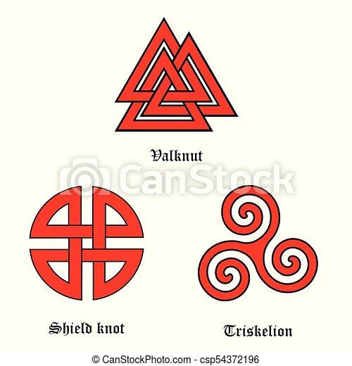 Valknut, shield knot and triskelion