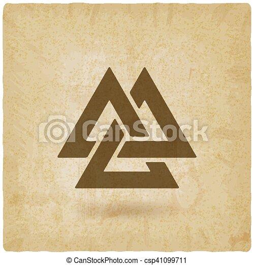 Valknut Symbol Interlocked Triangles Old Background Vector