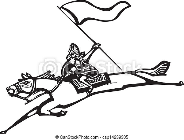Valkyrie With Flag Woodcut Style Image Of A Norse Valkyrie Riding A